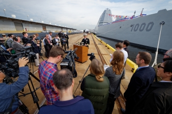 161013-N-NW961-011 BALTIMORE (Oct. 13, 2016) – Captain James A. Kirk, commanding officer of future USS Zumwalt (DDG 1000) answers questions from the media during a media tour of the Zumwalt-class guided missile destroyer, which will be commissioned Oct. 15 during Maryland Fleet Week and Air Show Baltimore. Fleet week offers the public an opportunity to meet Sailors, Marines, and members of the Coast Guard and gain a better understanding of how the sea services support the national defense of the United States and freedom of the seas. (U.S. Navy photo by Chief Michael O'Day)